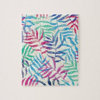 Hojas de palma tropicales de la acuarela II Puzzle