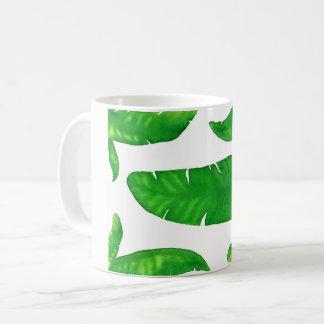 Hojas de palma tropicales del plátano taza de la