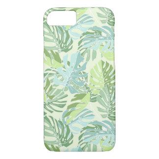 Hojas de palma tropicales en colores pastel funda iPhone 7