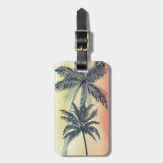 Hojas de palma tropicales etiqueta para maletas