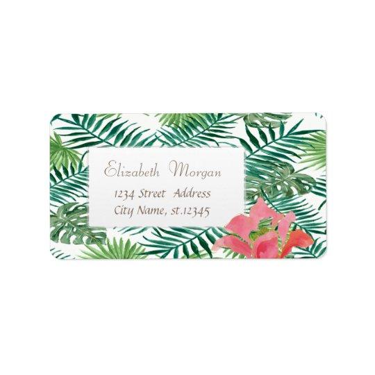 Hojas de palma tropicales modernas, Hibiskus Etiquetas De Dirección