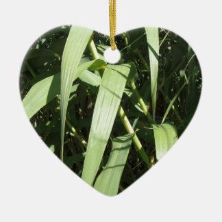 Hojas del bambú adorno de cerámica en forma de corazón