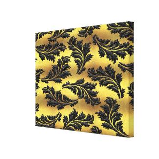Hojas elegantes del brillo del negro de la hoja de impresión en lienzo