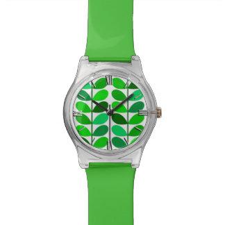 Hojas, esmeralda y verde lima danesas de los relojes