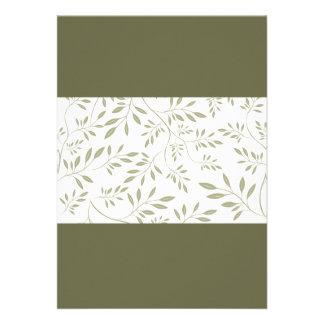 Hojas florales expresivas del verde verde oliva no comunicado