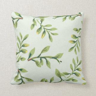Hojas lindas elegantes del verde del vintage cojín decorativo