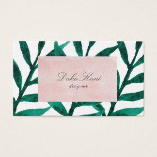 Hojas minimalistas del verde tarjeta de visita
