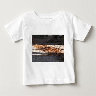 Hojas muertas que mienten en la tierra en la caída camiseta de bebé