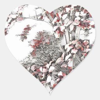 Hojas pasadas delicadas del otoño pegatina en forma de corazón