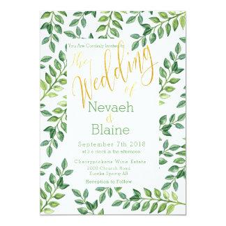 Hojas románticas del verde - invitación del boda