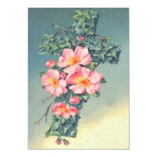Hojas rosadas del cristiano de las flores de las invitación 12,7 x 17,8 cm