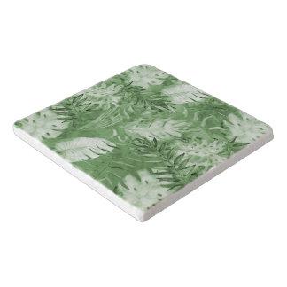 Hojas tropicales del blanco del verde de la salvamanteles