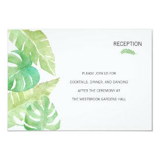 Hojas tropicales en parte movible de la acuarela invitación 8,9 x 12,7 cm
