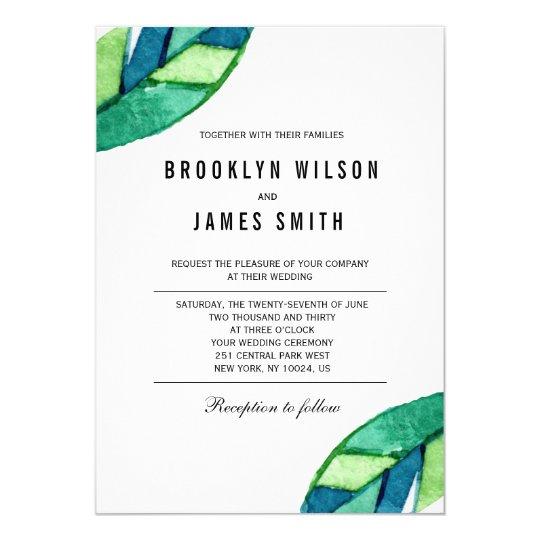 Hojas tropicales que casan invitaciones