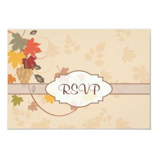 Hojas, uvas y cintas - personalizable invitación 8,9 x 12,7 cm
