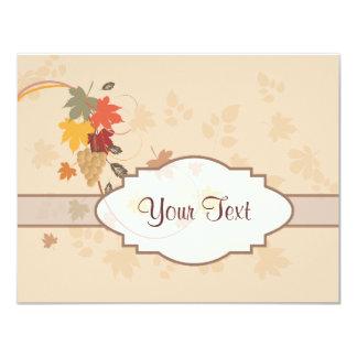 Hojas, uvas y cintas - personalizable invitación 10,8 x 13,9 cm
