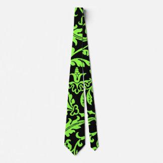 Hojas verdes claras en modelo negro corbatas