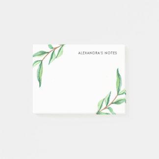 Hojas verdes minimalistas de la acuarela en blanco notas post-it®