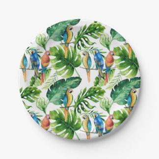 Hojas y banquete de boda tropicales verdes de los plato de papel