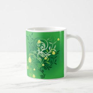 hojas y fruta tazas de café