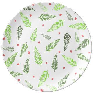 Hojas y modelo tropicales de la fresa plato de porcelana