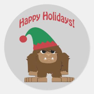 ¡Hokidays feliz! Navidad Bigfoot Pegatina Redonda