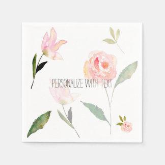Hola acuarela hermosa floral servilletas desechables