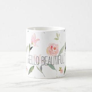 Hola acuarela hermosa floral taza de café
