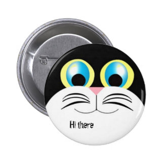 Hola allí gatito chapa redonda de 5 cm
