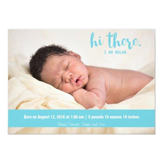 Hola allí invitación azul del nacimiento del bebé