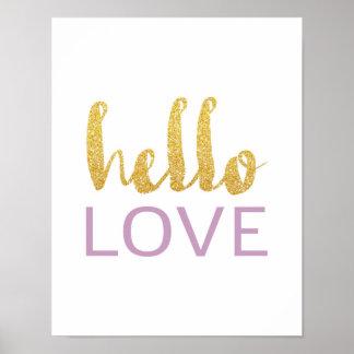 Hola amor - tipografía del oro - poster blanco póster