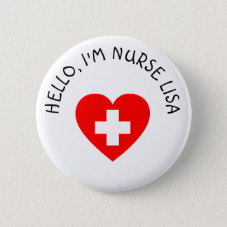 Hola botón personalizado de la enfermera Im (añada