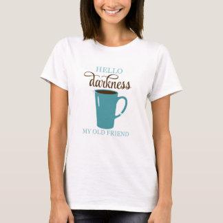 Hola camisa, blanco y trullo del humor del café de camiseta