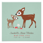 ¡Hola ciervos! Arte de la pared del cuarto de niño Poster