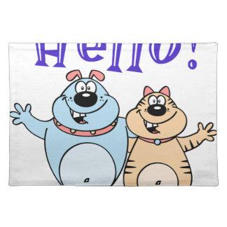 hola, diseño lindo de dos dibujos animados salvamanteles