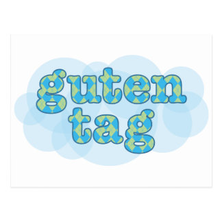 Hola en alemán guten la etiqueta con el modelo del postal