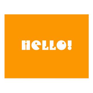 ¡Hola!  En anaranjado y blanco. Personalizado Postal