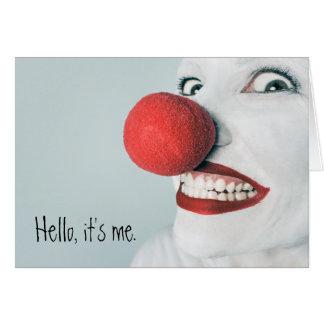 Hola, es yo cara divertida del payaso tarjeta de felicitación