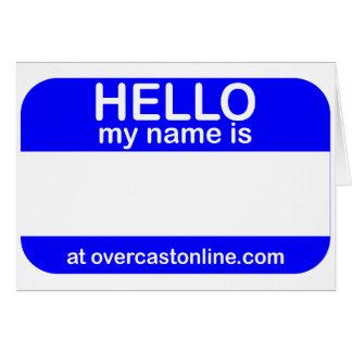 Hola etiqueta tarjeta de felicitación