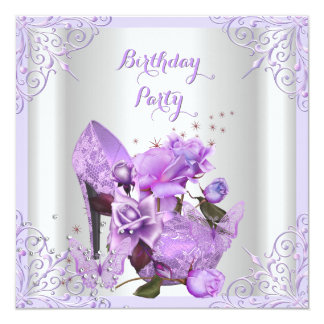 Hola fiesta de cumpleaños subió lila de la invitación 13,3 cm x 13,3cm
