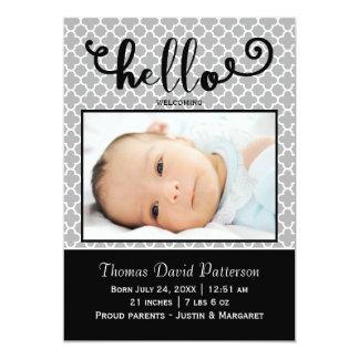 hola foto gris - invitación del nacimiento
