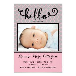hola foto rosada - invitación del nacimiento 3x5