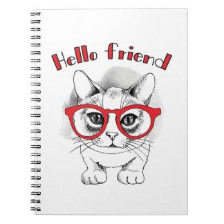 Hola gato del amigo con el cuaderno de los vidrios