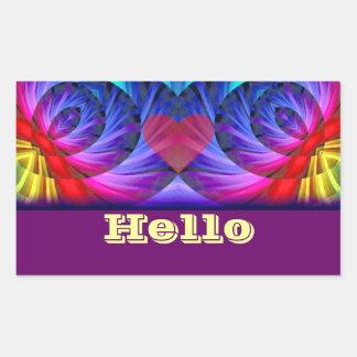 Hola, Hello_ Pegatina Rectangular