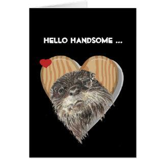 Hola humor masculino hermoso del aniversario de la tarjeta de felicitación