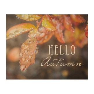 Hola impresión de bloque de madera del otoño