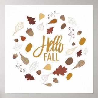 Hola impresión del arte del follaje de otoño