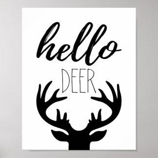Hola impresión del poster de los ciervos