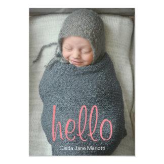 Hola invitación del bebé del mundo