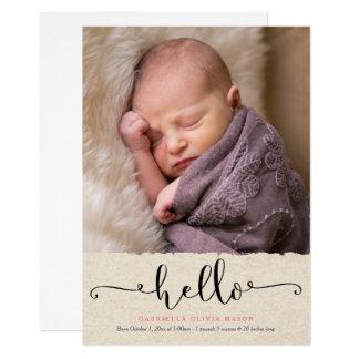 Hola invitación del nacimiento